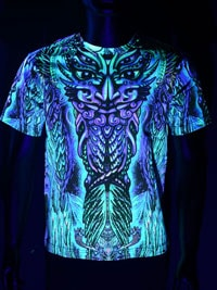 Spacetribe Schwarzlicht Neon Shirt Rainbow Barong Totem
